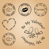 Set of vector stamps for valentine day - elements Royalty Free Stock Photography