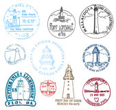 Set of stamps with various lighthouses Stock Images