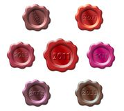 Set of stamps with a year 2011 Royalty Free Stock Photo