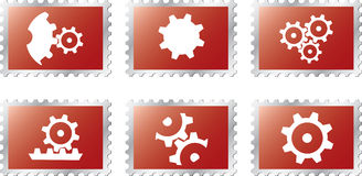 Set stamps1 - 18. Gears Stock Photos