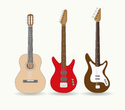 Set of standalone guitars Stock Photo