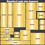 Set of standard size web banners. banners with realistic gold texture. In rectangular and square forms. set of golden geometric vector banners made in material Stock Images
