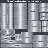 Set of standard size web banners. banners with realistic steel texture. In rectangular and square forms. set of metallic geometric vector banners made in Stock Photo