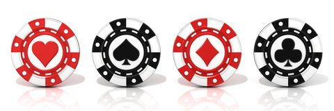 Set of standing gambling poker chips, with spade, heart diamond and club sign on it Royalty Free Stock Photo