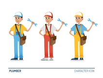 Plumber character figures in 3 colors Royalty Free Stock Photos