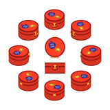 Set of standing red round traveler`s suitcases Royalty Free Stock Photos