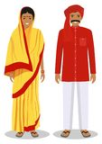 Set of standing together indian man and woman in the traditional clothing isolated on white background in flat style Royalty Free Stock Photography