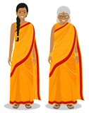 Set of standing together old and young indian woman in the traditional clothing isolated on white background in flat stock image