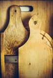 Set of standing weathered wood cutting and bread boards, texture, cooking concept, background Royalty Free Stock Photo