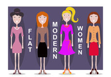 Set of standing women. In the different dresses and different hairstyles. Flat design Royalty Free Stock Image
