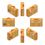 Set of standing yellow traveler`s suitcases Royalty Free Stock Image