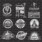 Set of standup comedy show white labels and logos with black background. Vector badges and stickers Stock Photo