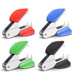 Set of staple remover different colors. On white background. 3d render image Stock Photo