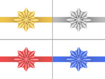 Set of star bows. Set of 4 bows in the form of stars of different colors Royalty Free Stock Photo