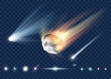 Set of star, comet and asteroid isolated on transparent backgrou royalty free stock photo