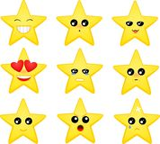 Set of star emoticons. Vector set of cartoon star emoticons Stock Images