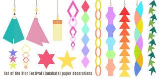 Set of the Star Festival, Tanabata paper decorations. Can be used for cards, invitations, wallpaper, pattern fills, web design, surface textures and more Stock Photography