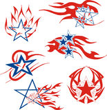 Set of star flames Stock Photos