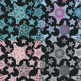 Set of star-like seamless patterns. Nice hand-drawn illustration Stock Images