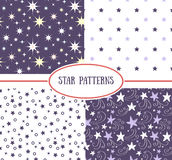 Set of star seamless patterns Royalty Free Stock Images