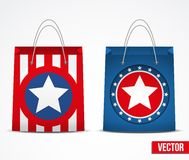 Set of star shopping bag vector Stock Images