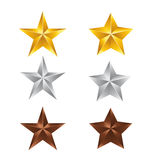 Set star. Vector illustration; Set of Stars. Gold Star, Silver Star and copper Star isolated on white Background Royalty Free Stock Photography