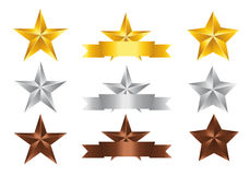 Set star. Vector illustration; Set of Stars. Gold Star, Silver Star and copper Star isolated on white Background Royalty Free Stock Images