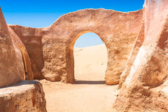 Set for the Star Wars movie still stands in the Tunisian desert Stock Images