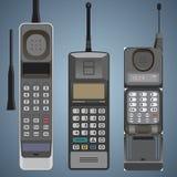 Set stara mobilna telefon komórkowy wysokość wyszczególniał frontowego widok royalty ilustracja