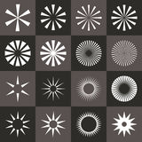 Set of starburst shape on black background. Rays in abstract circular geometric shapes. Vector illustration EPS-8 Stock Photography