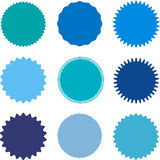Set of starburst, sunburst badges, labels, stickers. Different shades of blue color. Simple flat style. Vintage, retro. Design elements. A collection of Royalty Free Stock Photos