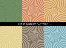 Set of starburst twist background retro style. Collection of abstract sunburst ray radial green, yellow, blue, brown, orange, vector illustration