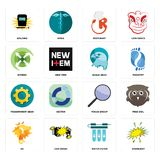 Set of starburst, water filter, de, focus group, transparent gear, eagle head, extend, resturant, welding icons. Set Of 16 simple editable icons such as Royalty Free Stock Photography