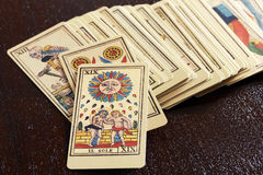 Set stare malarskie tarot karty obrazy stock