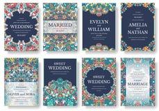 Set stare Ramadan ulotki strony ornamentuje ilustracyjnego pojęcie Rocznik sztuka tradycyjna, islam, język arabski, hindus, magaz ilustracji