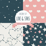 Set of starry and lovely seamless backgrounds Royalty Free Stock Photo