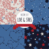 Set of starry and lovely seamless backgrounds Royalty Free Stock Images