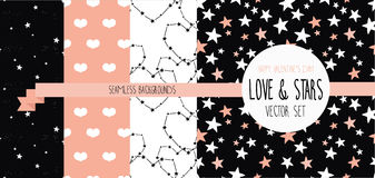 Set of starry and lovely seamless backgrounds Stock Image