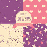 Set of starry and lovely seamless backgrounds Royalty Free Stock Photos