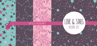 Set of starry and lovely seamless backgrounds Stock Photo