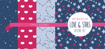 Set of starry and lovely seamless backgrounds Stock Images