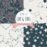 Set of starry and lovely seamless backgrounds Royalty Free Stock Image