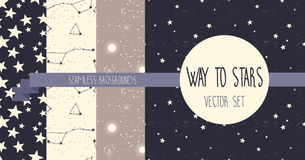 Set of starry seamless backgrounds Stock Photo