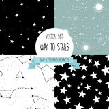 Set of starry seamless backgrounds Royalty Free Stock Images