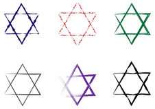 Set of Stars of David painted with a brush. Six isolated element Stock Photos