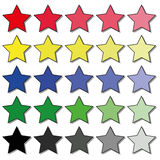 Set of stars. Set of different shades of colored stars Royalty Free Stock Photo