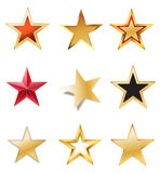 Set stars with gold Royalty Free Stock Photography