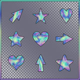 Set of Stars, Hearts, Arrows with Holographic Effect. Kit of Isolated Signs for Site, Web, Website, App, Program on on Transparent Background Stock Images