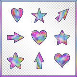 Set of Stars, Hearts, Arrows with Holographic Effect. Kit of Isolated Signs for Site, Web, Website, App, Program on on Transparent Background Stock Photography