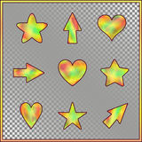 Set of Stars, Hearts, Arrows with Holographic Effect. Kit of Isolated Signs for Site, Web, Website, App, Program on on Transparent Background Royalty Free Stock Photos